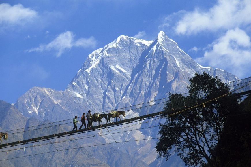 Pont suspendu, Annapurnas, Népal