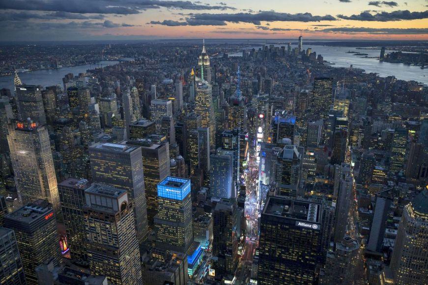 Coucher du soleil sur Manhattan depuis Midtown, New York
